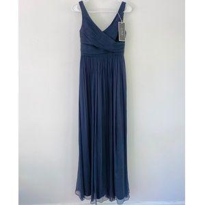 J. Crew Navy Silk Chiffon Heidi Formal Maxi Dress